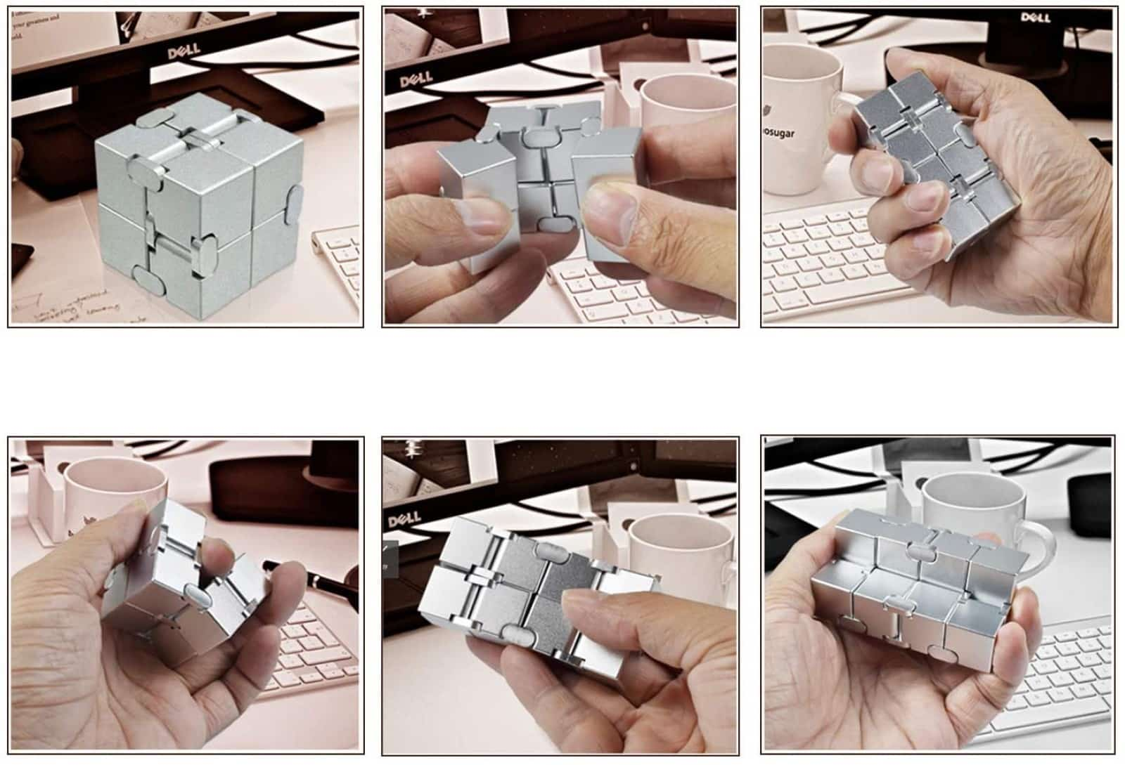infinity cube being manipulated by one hand