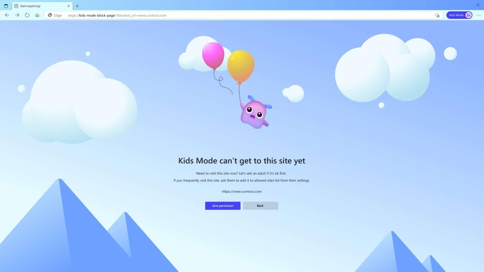 microsoft edge showing kids mode blocking a site