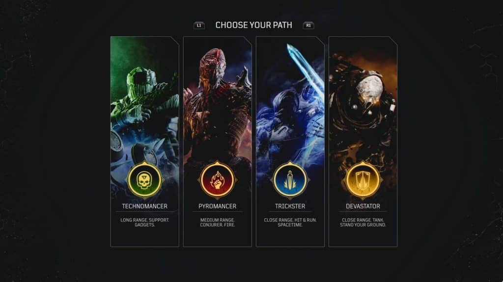 outriders class selection screen