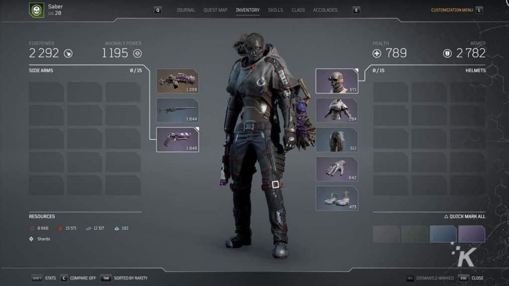 outriders gear screen