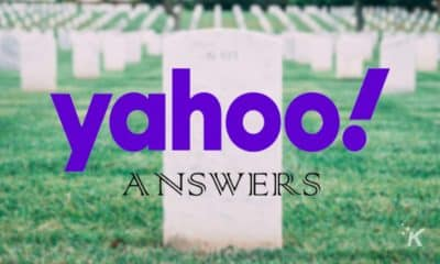 yahoo answers on blurred background