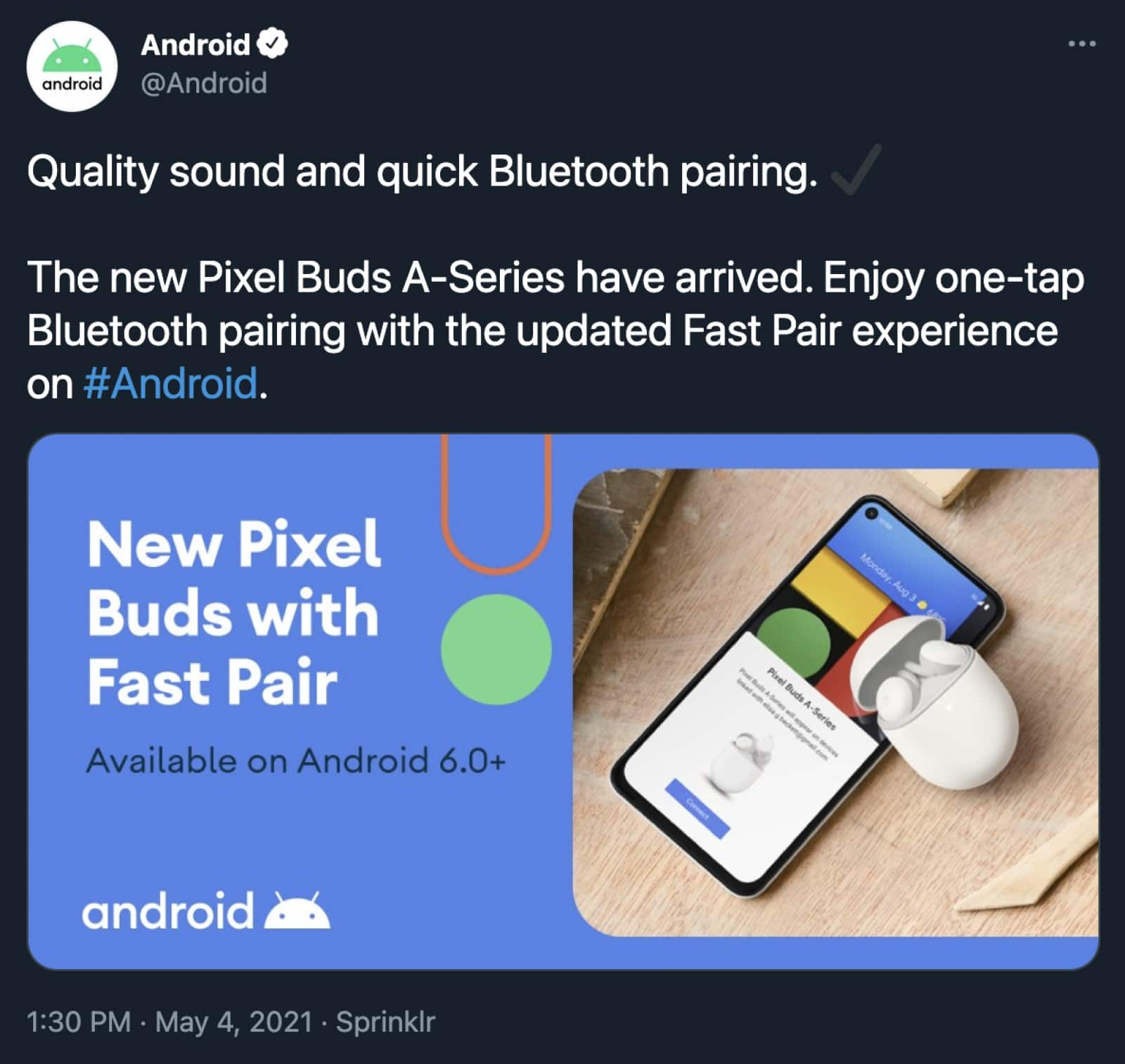 android twitter account now-deleted tweet showing the pixel buds a-series