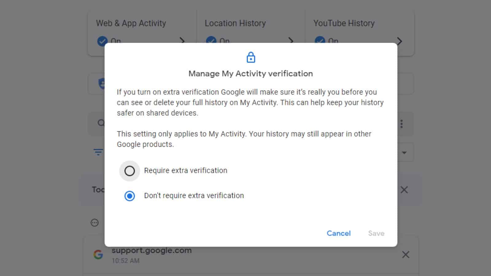 screenshot of the Google My Activity page showing how to turn on extra verification