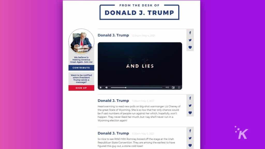 donald trump social site