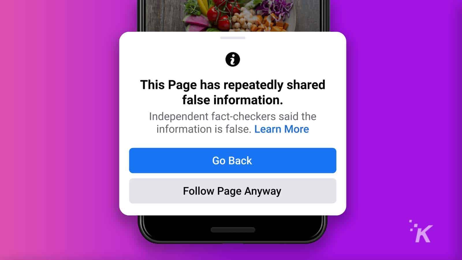 facebook false information prompt