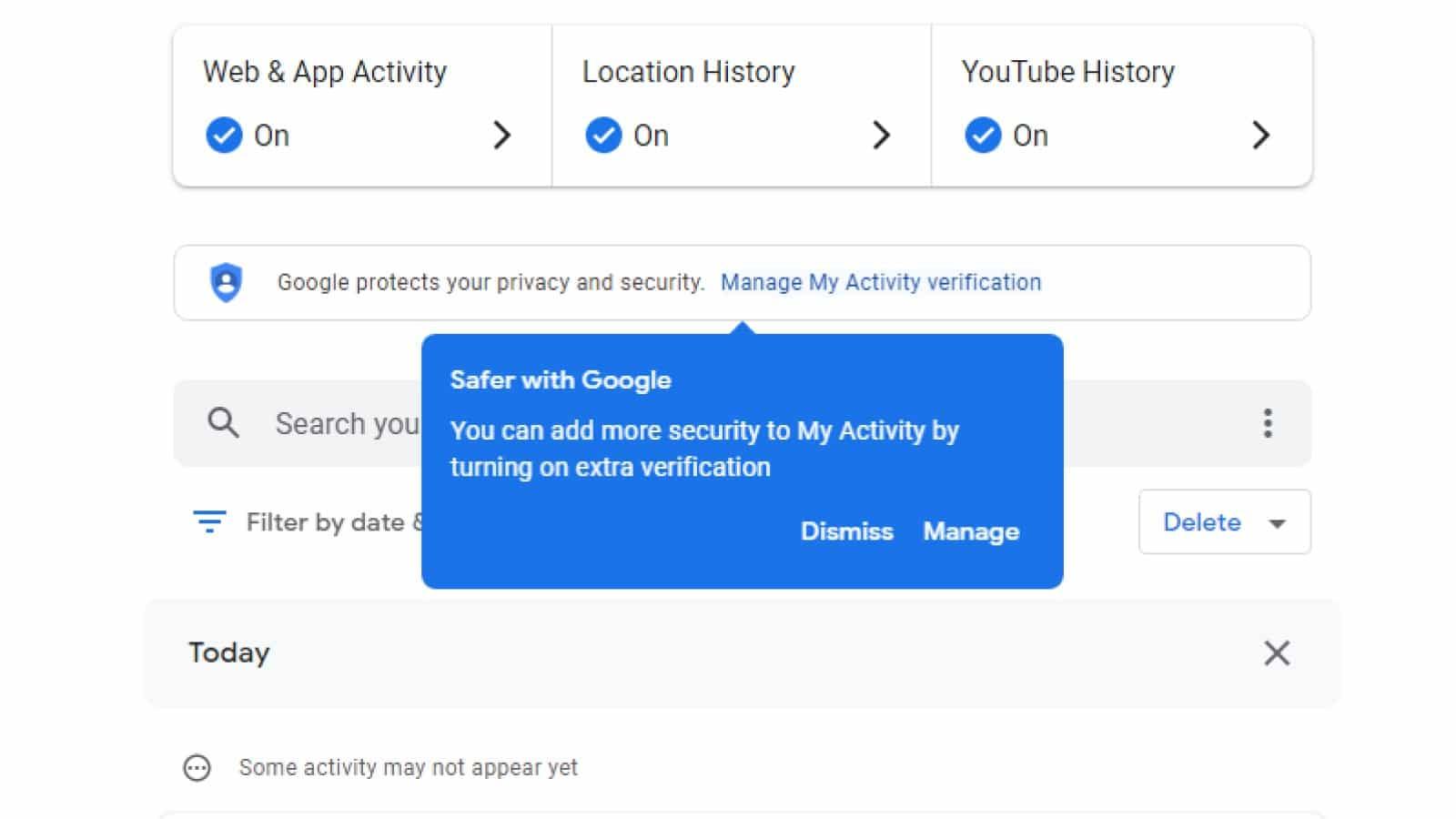 google my activity feed