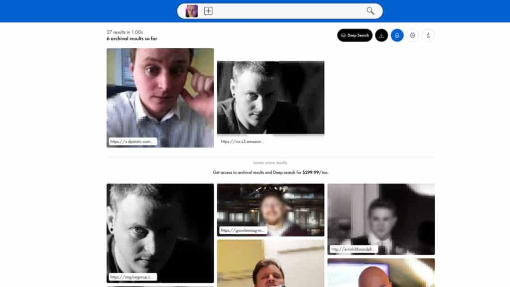 pimeyes facial recognition example