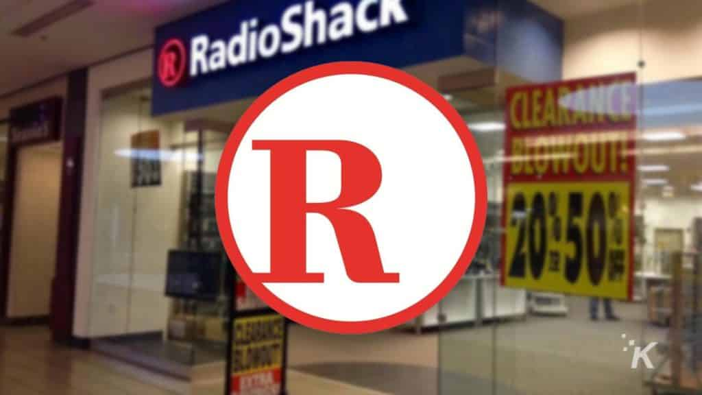 radioshack logo and blurred background