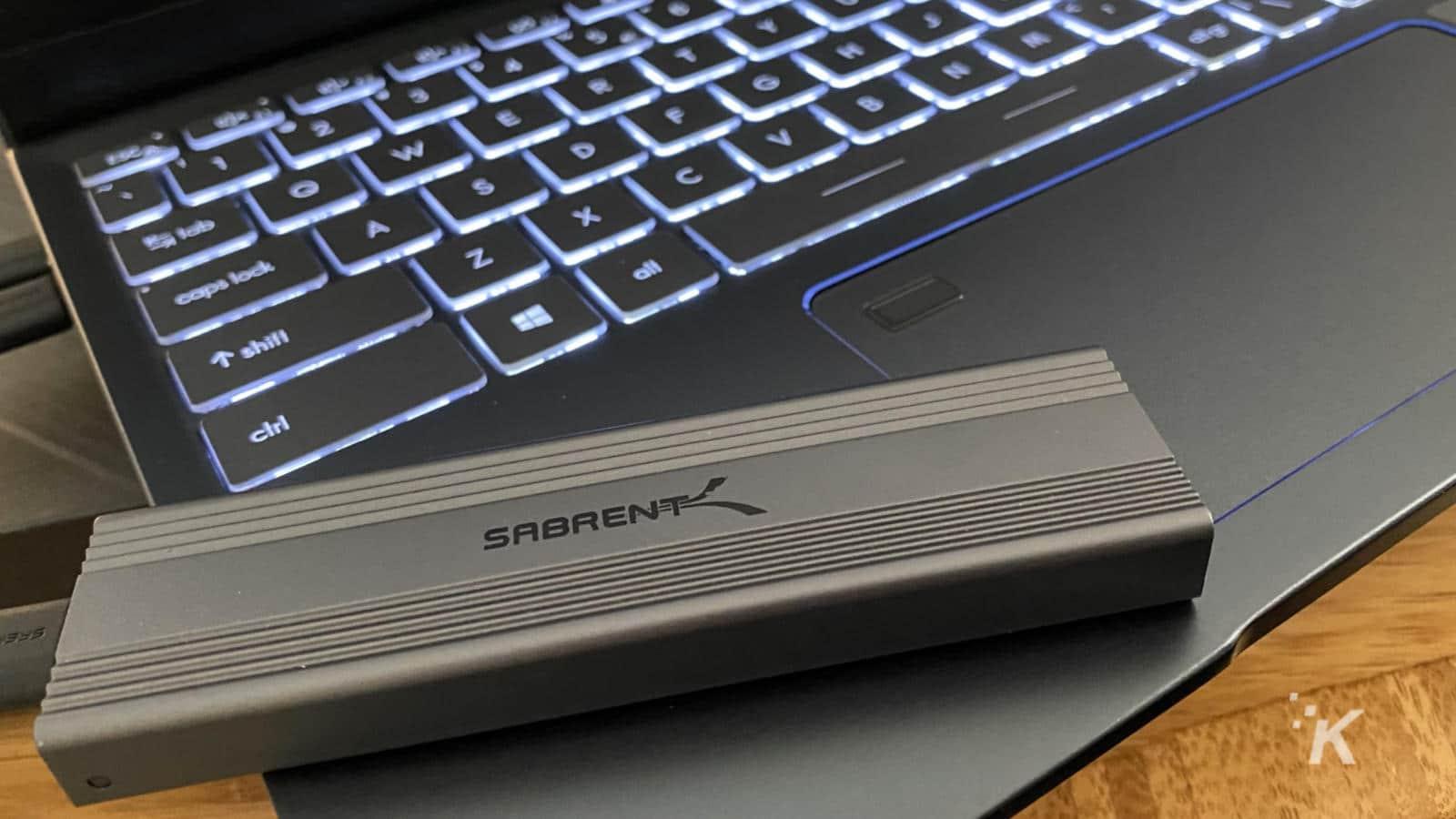 sabrent nvme external enclosure on a laptop
