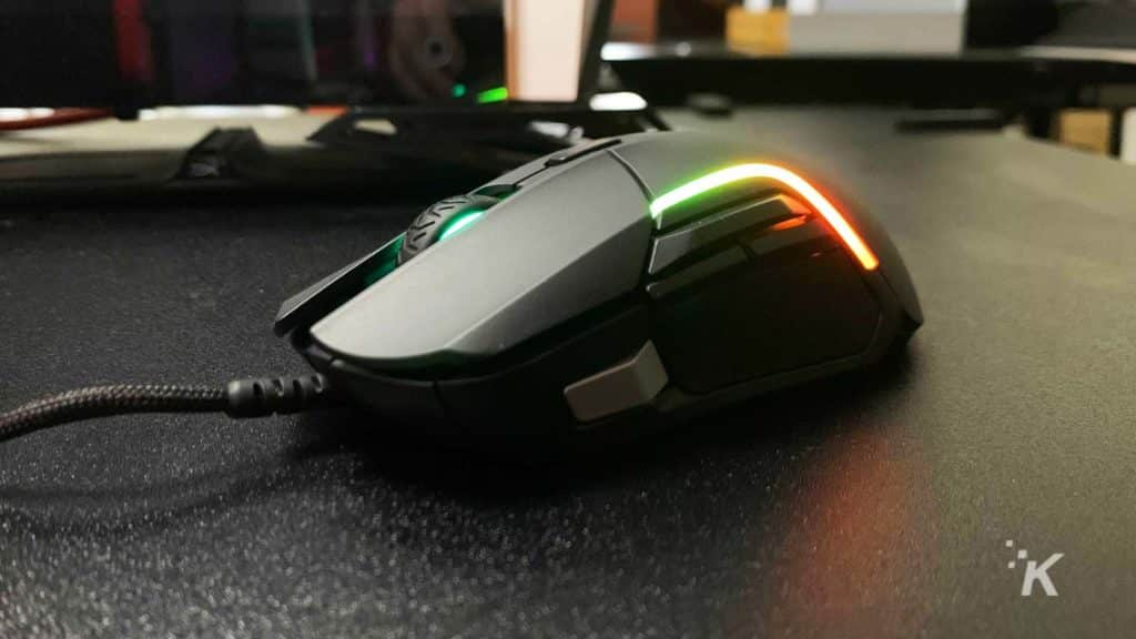 gaming mouse on desk