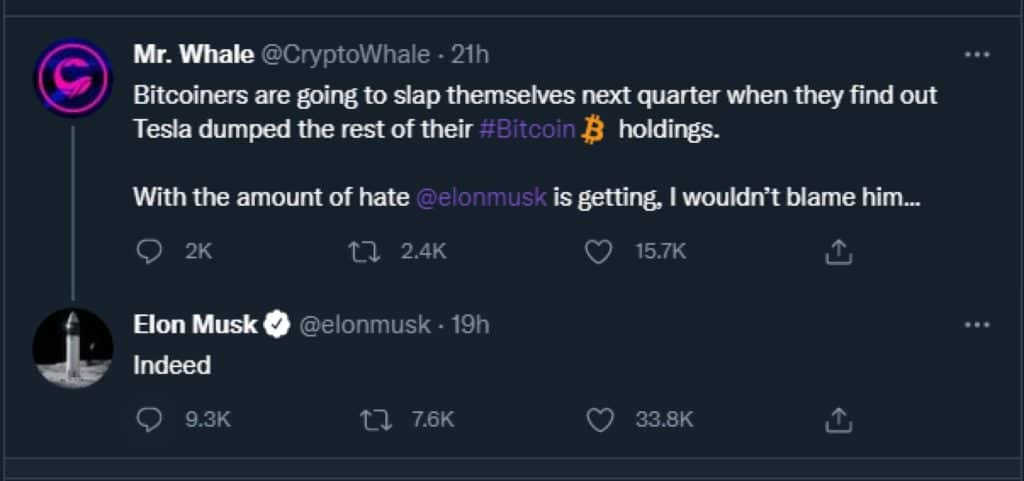 tweet from elon musk replying 'indeed' to a