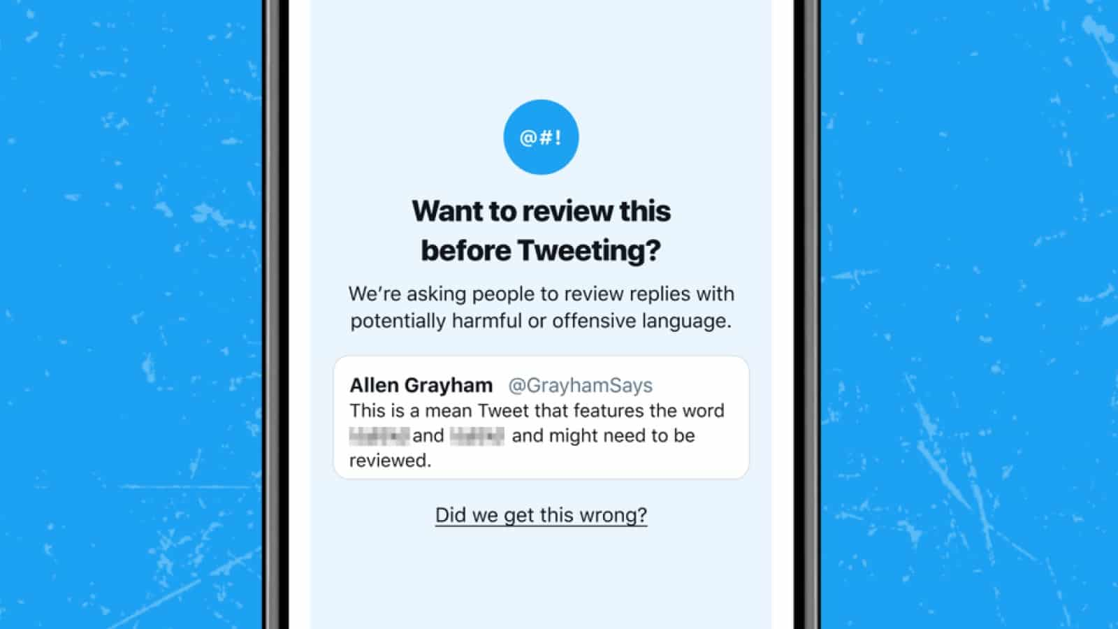 twitter prompt asking you to review your language before tweeting