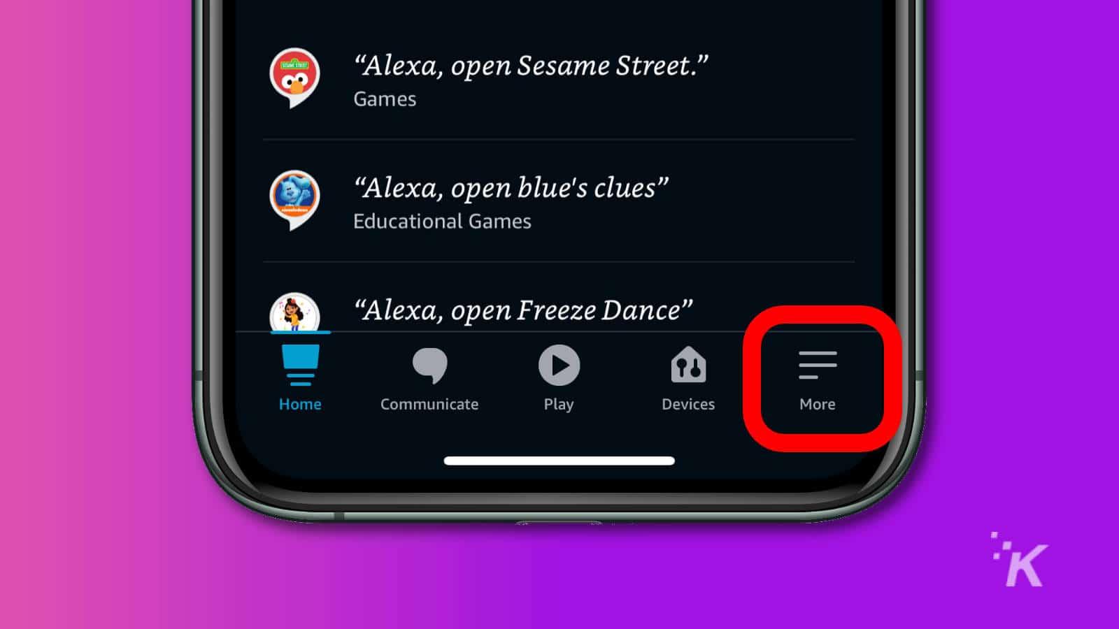 amazon alexa app showing home screen
