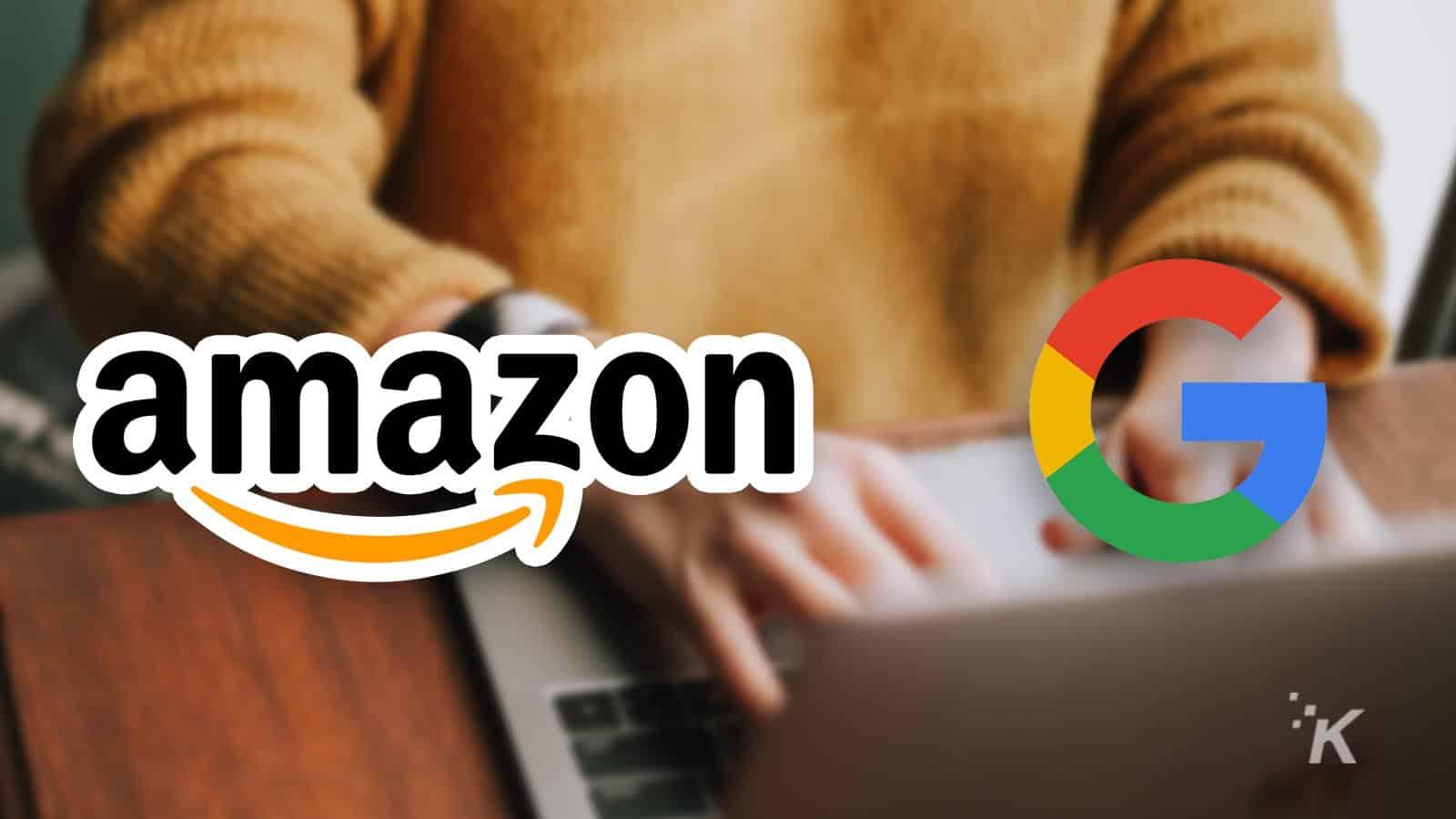 amazon and google logos on blurred background