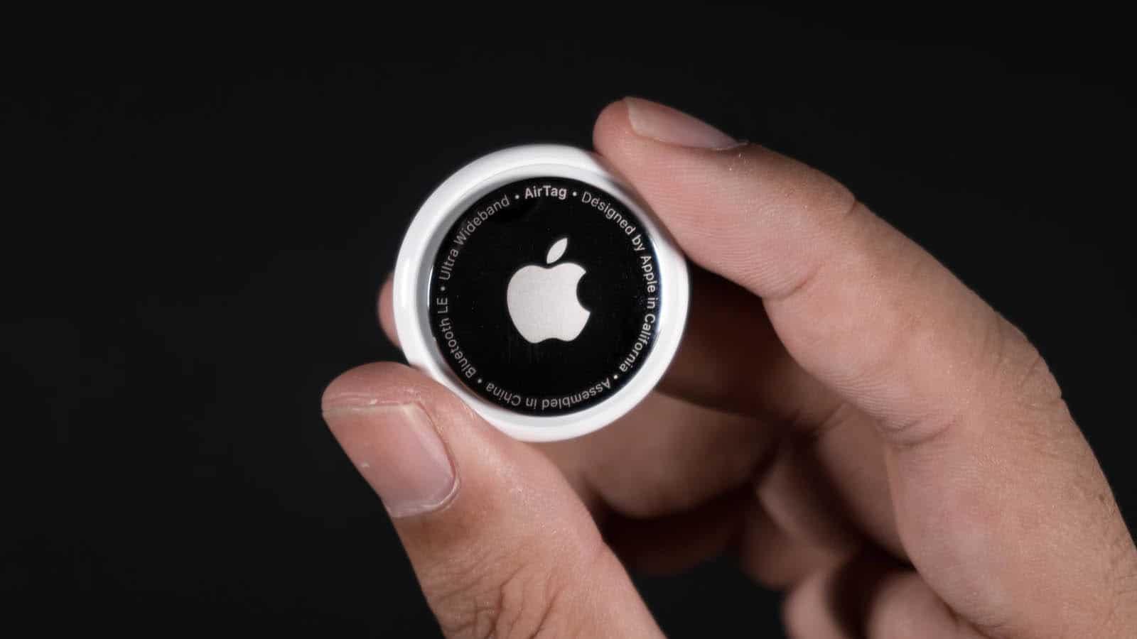 apple airtag being held