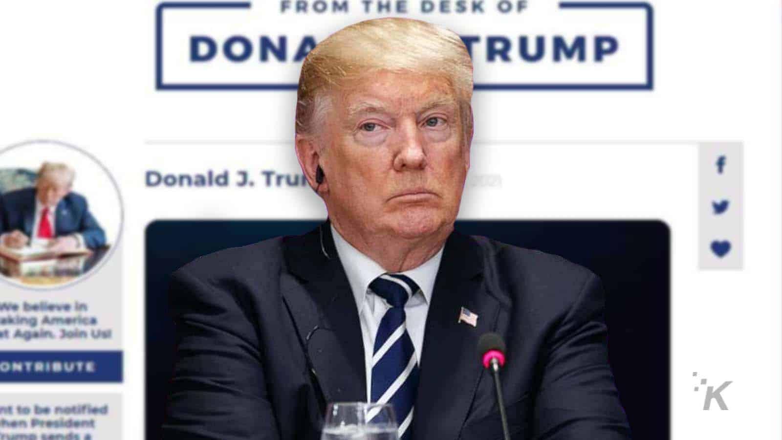 donald trump website shut down