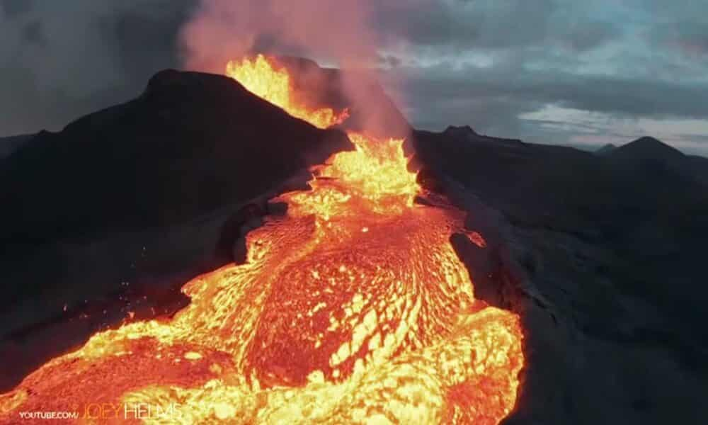 Watch this drone go down in an epic blaze of glory as it flies into a volcano