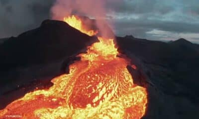 drone flying into volcano
