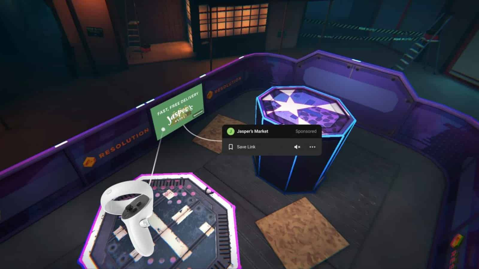 vr game playing on oculus quest showing the upcoming in-game advertising