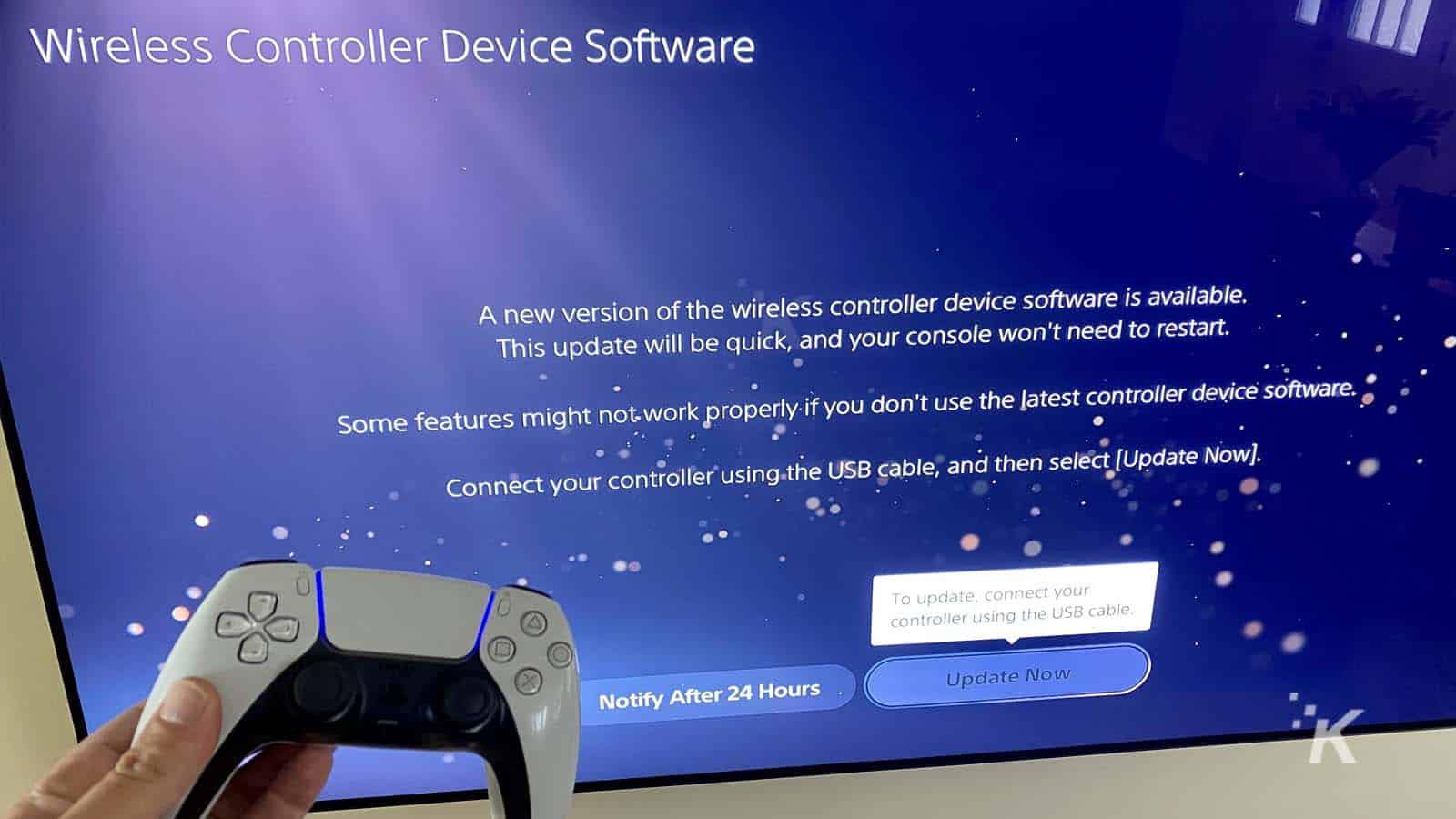 ps5 update controller screen