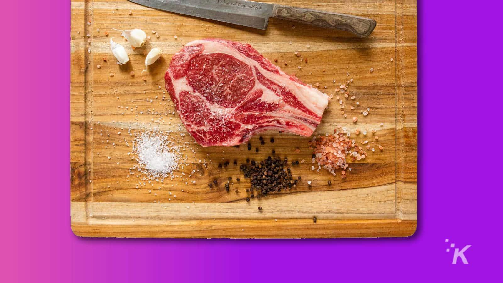 kansas city cattle co steak on a chopping board
