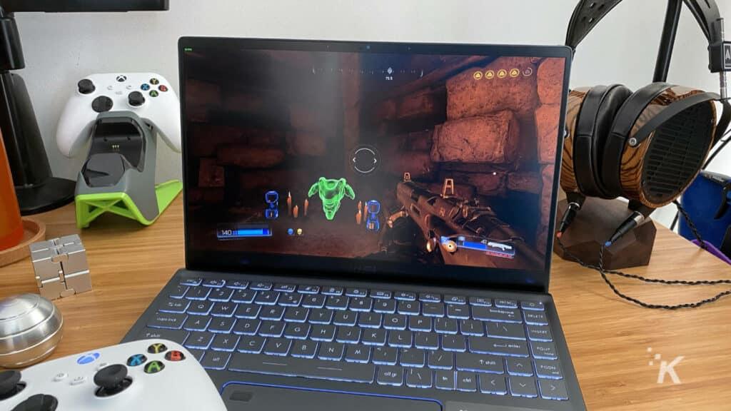 laptop playing doom