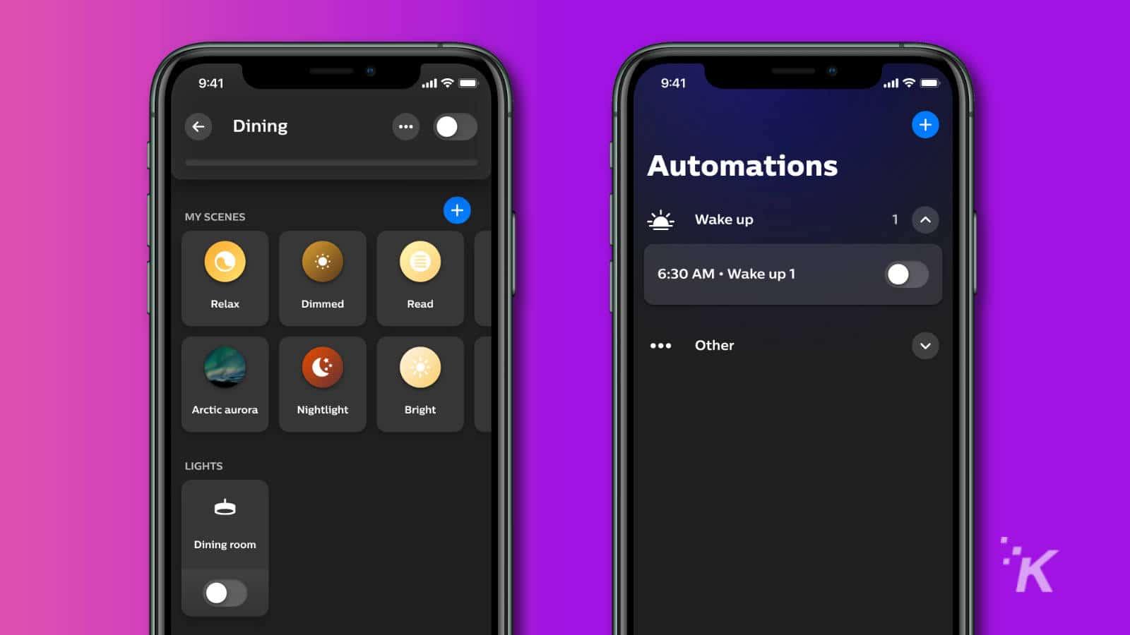 philips hue app redesign screenshots