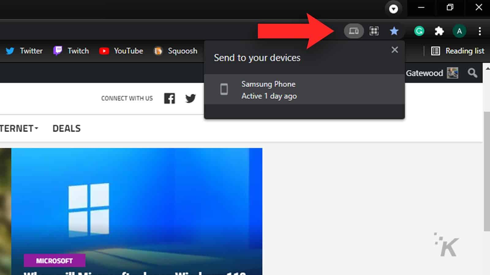 send google chrome tabs to devices