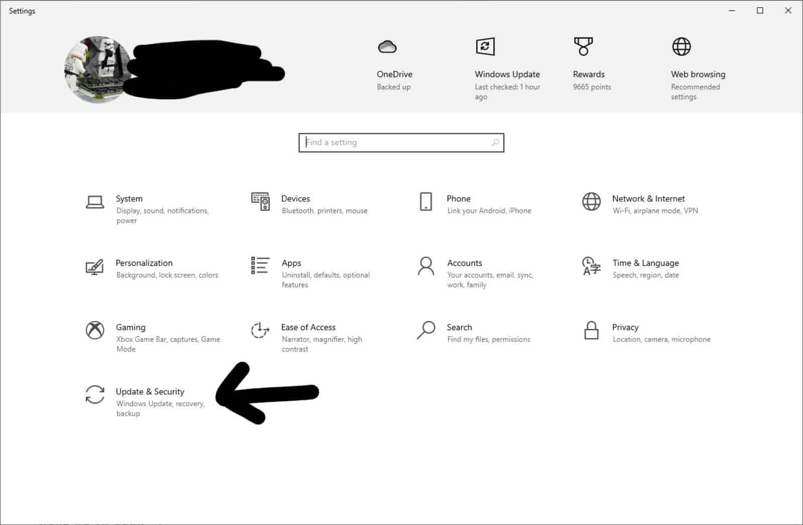 windows 10 settings main page