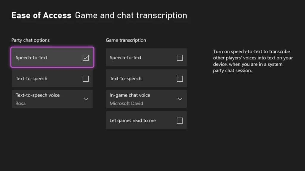 xbox speech to text feature