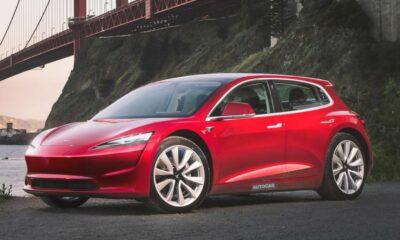autocar's imagining of the rumored tesla hatchback