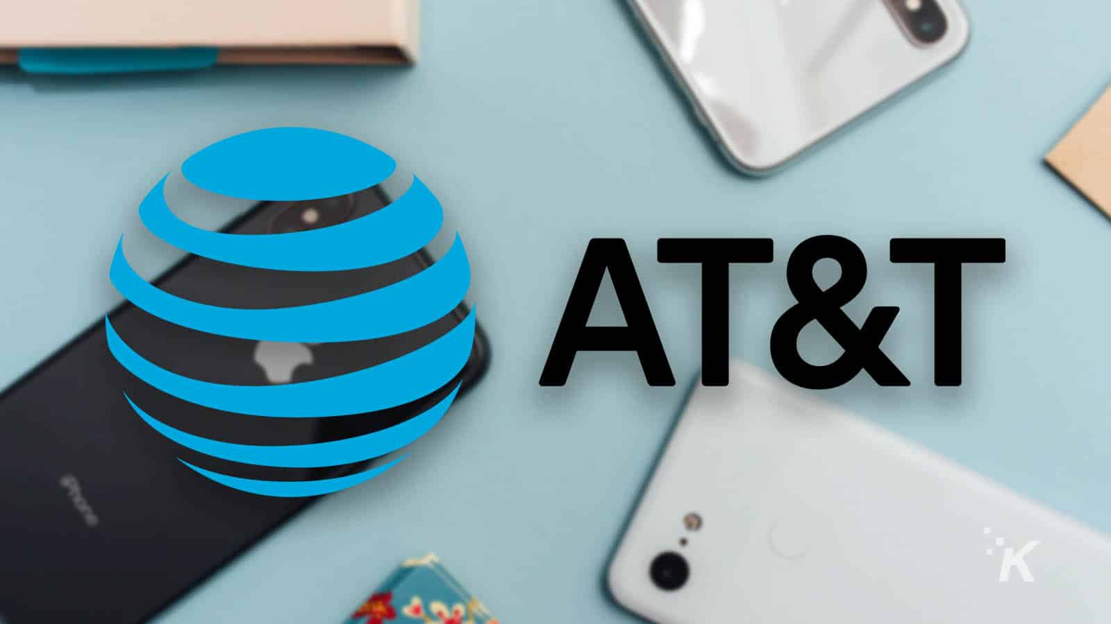 at&t logo and blurred background