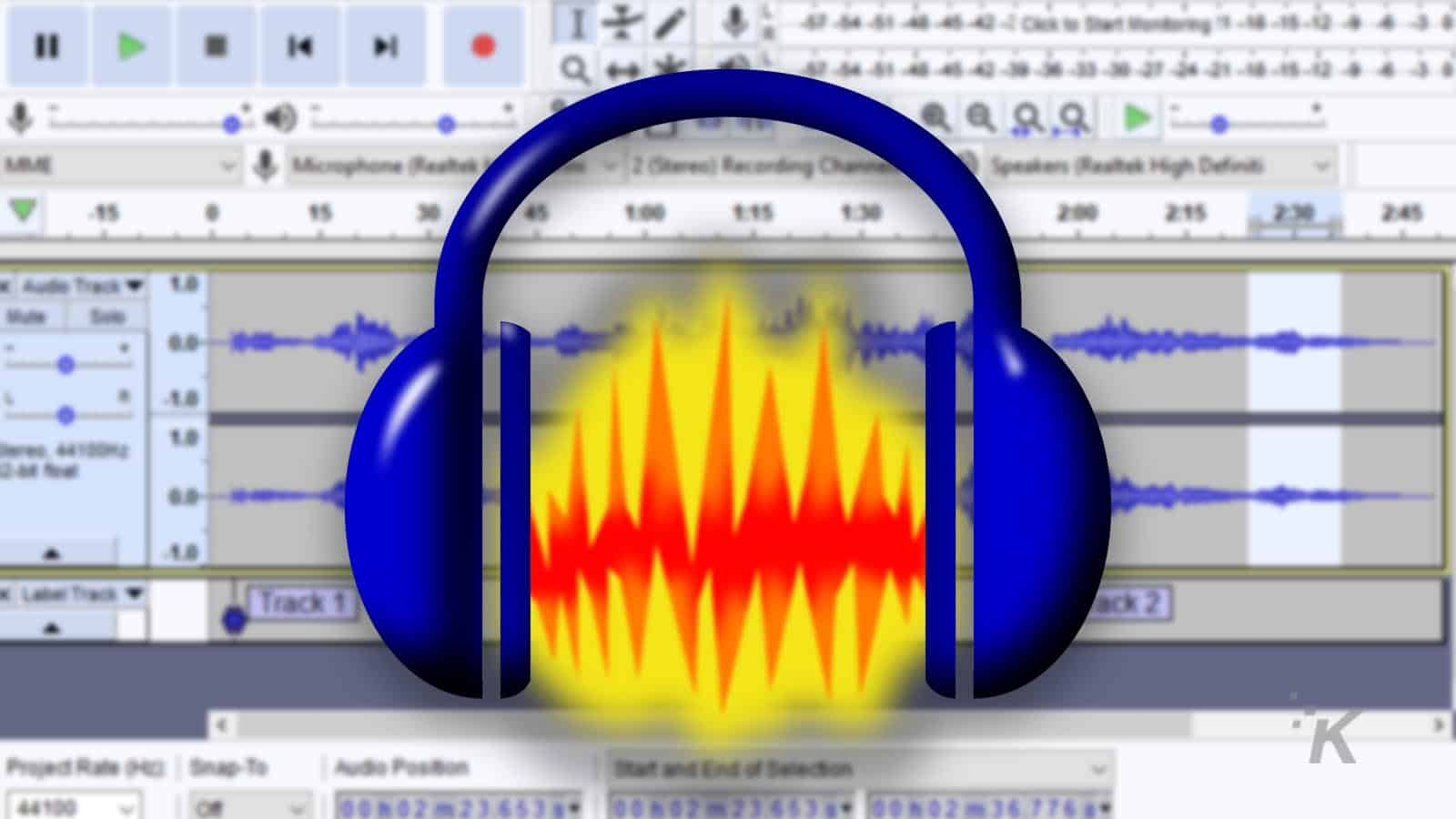 audacity logo with blurred background