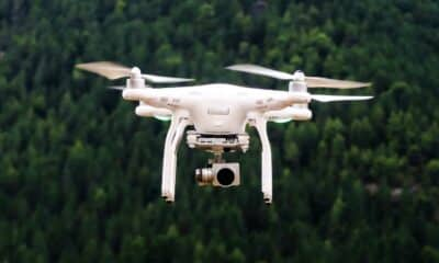 drone flying in a forest