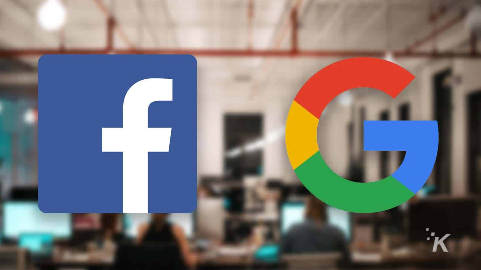 facebook and google logos on blurred background