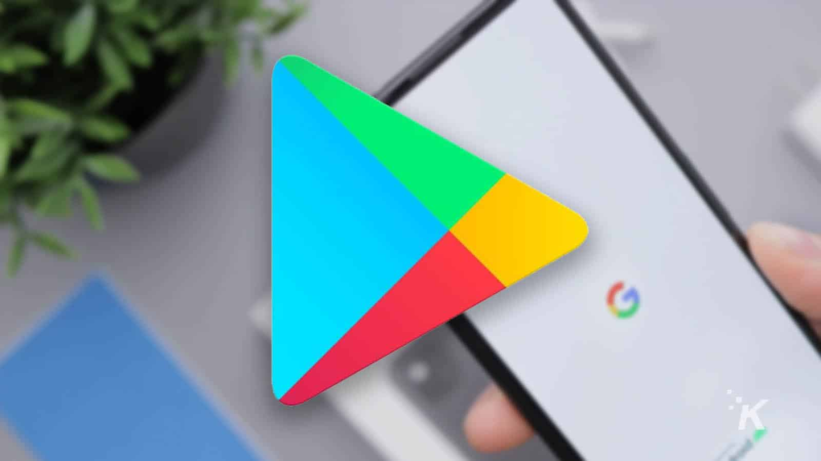 google play store logo with blurred background
