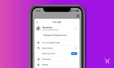 google ios app showing ability to delete last fifteen minutes of search history