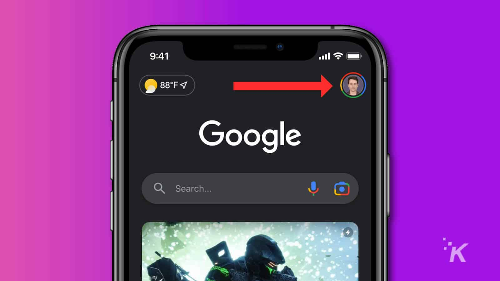 google app ios profile avatar