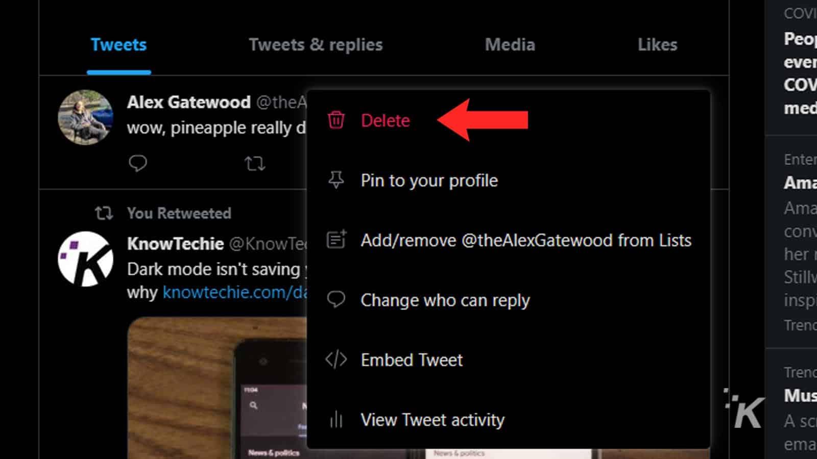 deleting tweets on desktop
