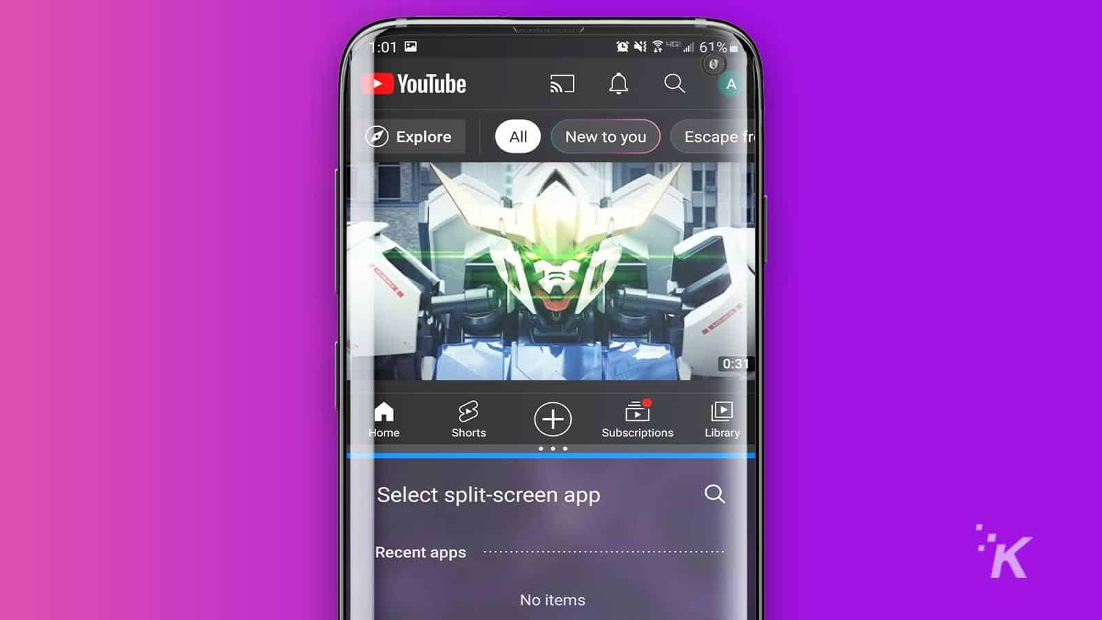 how to split-screen on android