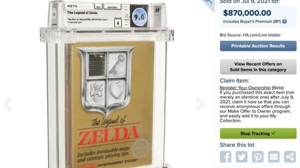 legend of zelda sealed copy sells for $870,000