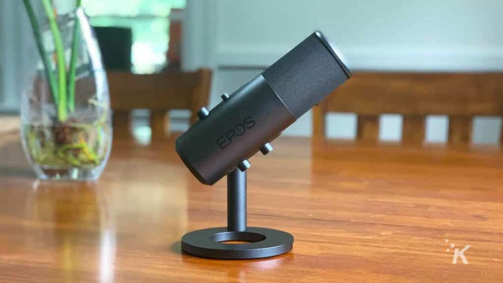 black microphone on table