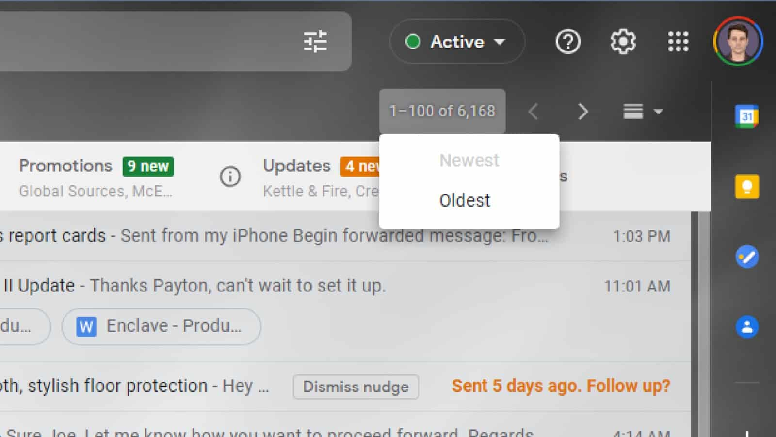 screenshot of gmail showing the newest / oldest sort order button