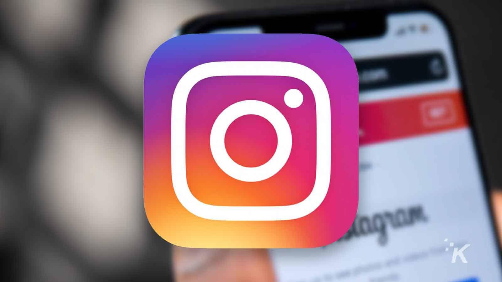 instagram social media logo and blurred background