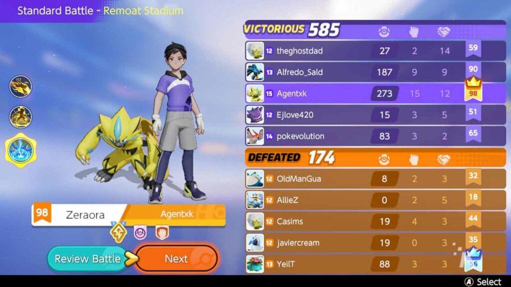 pokemon unite character screen