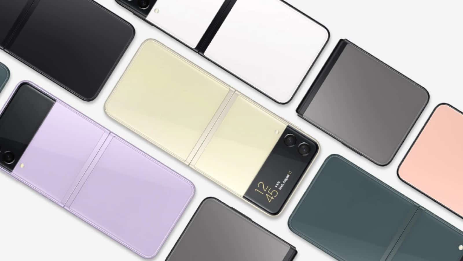 samsung galaxy z flip 3 handsets arranged to show white, black, gray, pearl, purple, pink and green color options