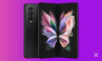 samsung galaxy z fold 3 handset on purple background