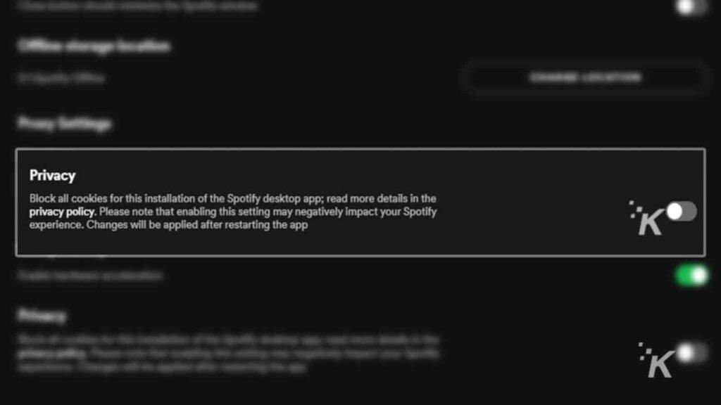 spotify cookie tracking on desktop