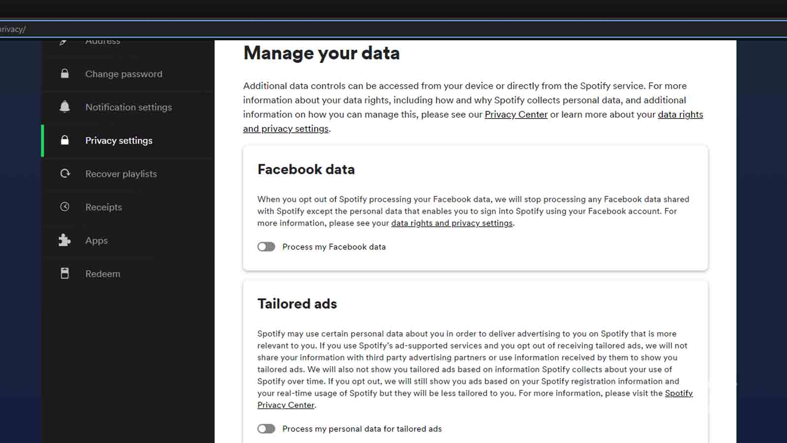 how to change privacy settings on spotify website