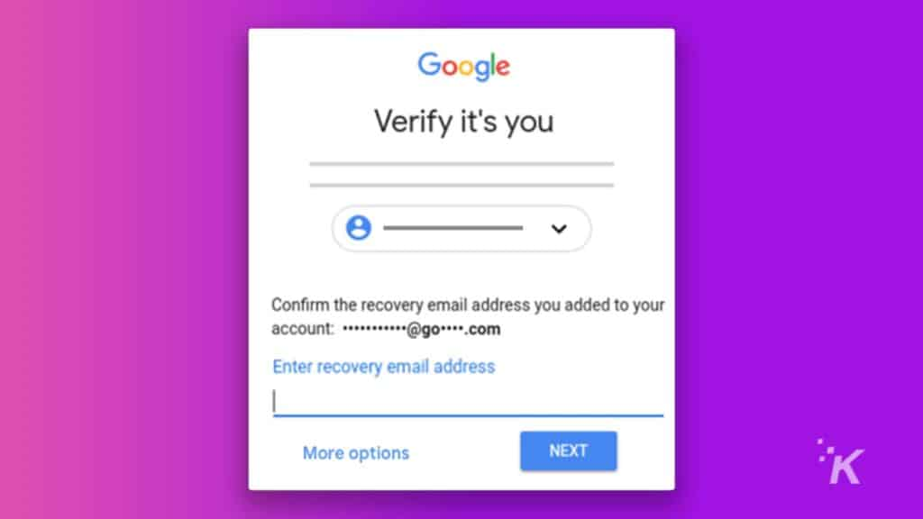 verify it's you page on gmail